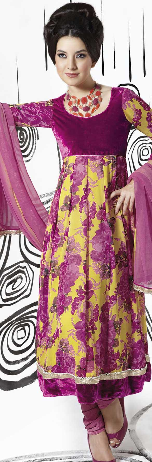 Pink n purple dress    Suits n churidaars   Pinterest  Crepes Silk and Gold