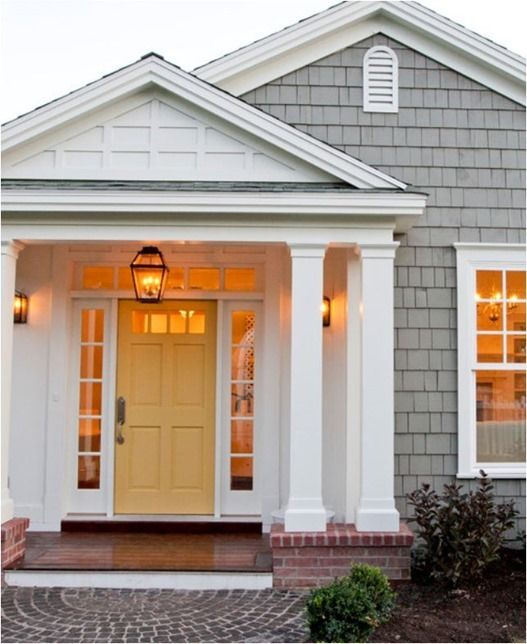 Modern Exterior Paint Colors For Houses | Compliments, Yellow front ...