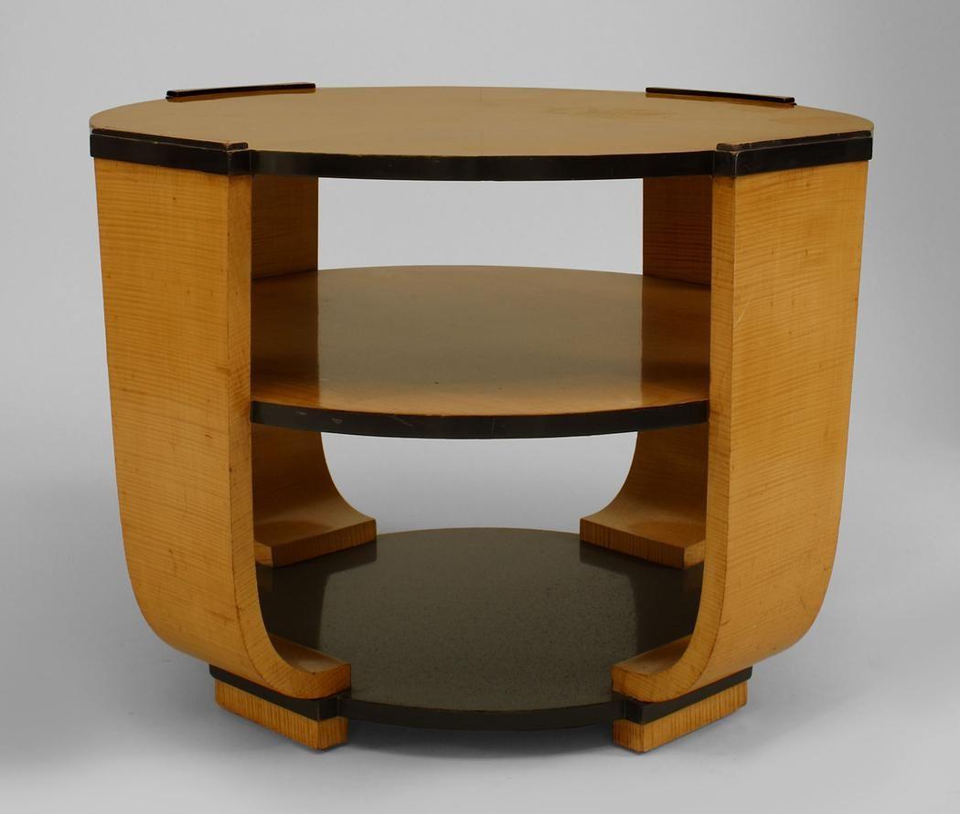Italian Art Deco Birds Eye Maple Round 3 Tier End Table With Ebonzied  Bottom Shelf And