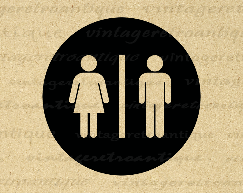 Digital Printable Male Female Symbol Image Bathroom Icon Restroom Symbol Graphic Download Antique Clip Art Printa Clip Art Bathroom Images Digital Printables