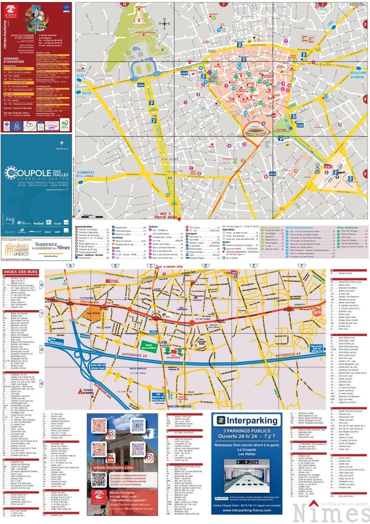 Nîmes sightseeing map | Maps | Pinterest | France and City