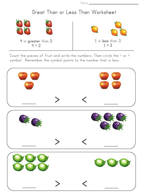 Greater Less Worksheet Fruit Mathtastic Pinterest Worksheets
