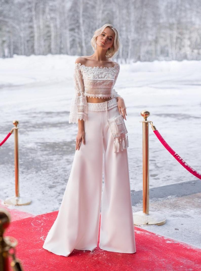 Boho wedding ivory pants satin lace top wedding gown