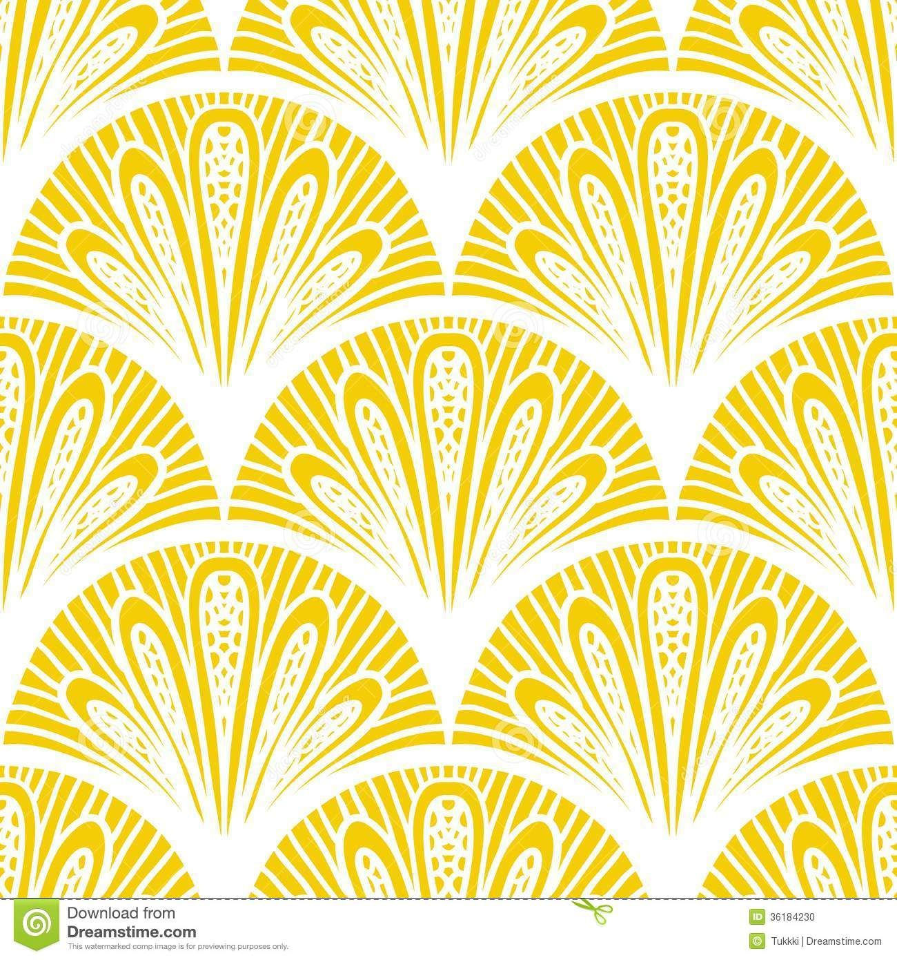 Art Deco Vector Geometric Pattern In Bright Yellow - Download From ...