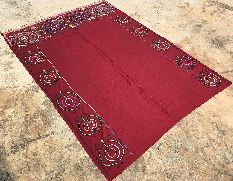 Old Red Suzani Door Design Handmade Suzani Textile Suzani Etsy Suzani Fabric Suzani Handmade Bedspreads
