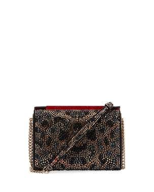 Christian Louboutin Vanite Large Leopard Crystal Suede Clutch Bag