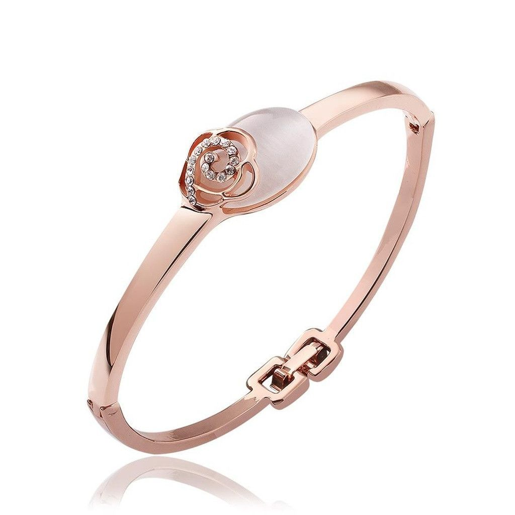 Gold plated bangle bracelets for women rose gold cubic zirconia