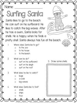 FREE Surfing Santa  fun reading comprehension for Christmas