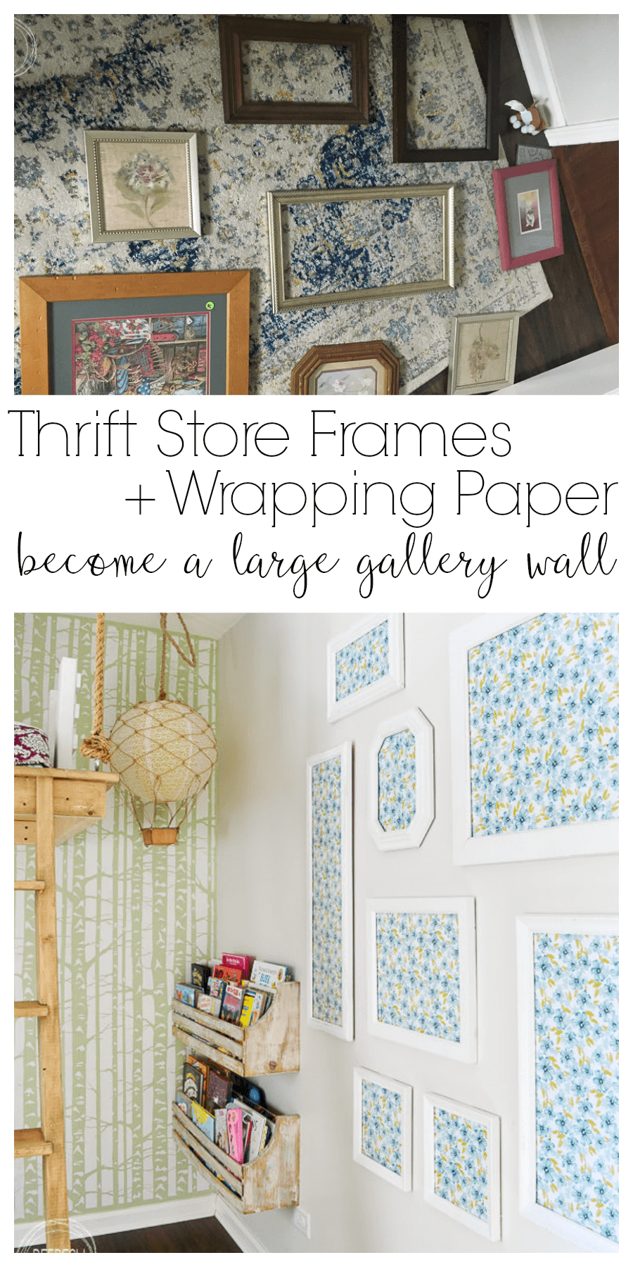 alternative to wallpaper gallery wall from second hand frames