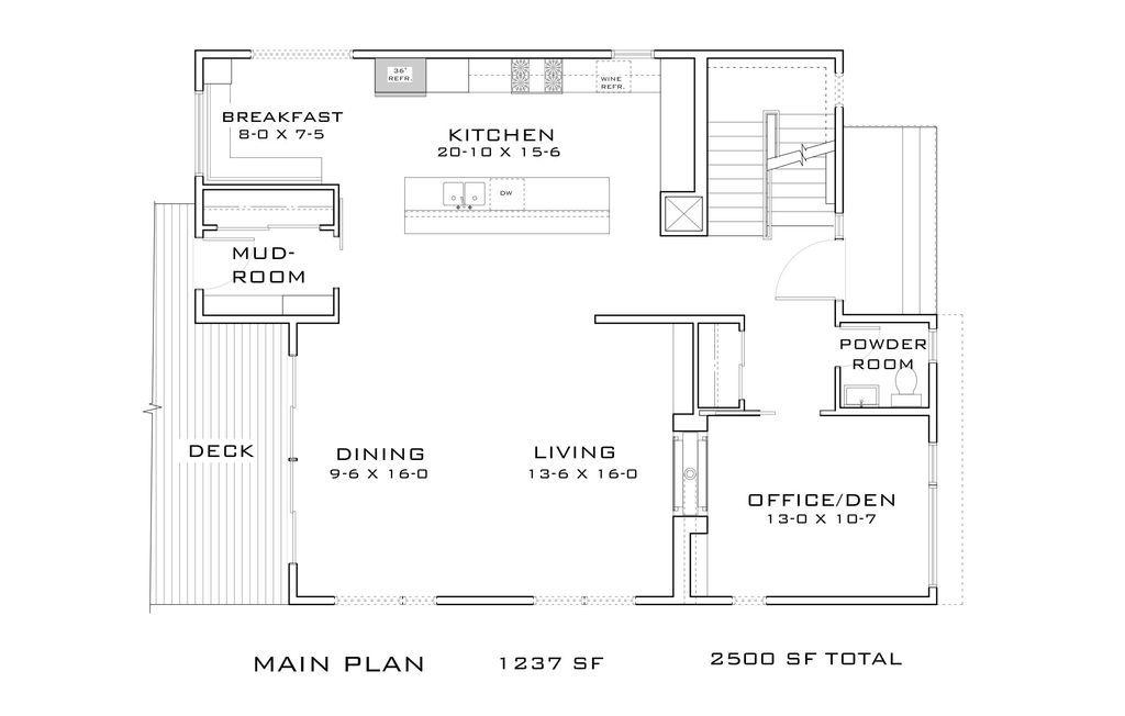 contemporary 3 beds 25 baths 2500 sqft plan 909 9 main floor - 9 Sq Ft Tiny House Floor Plans