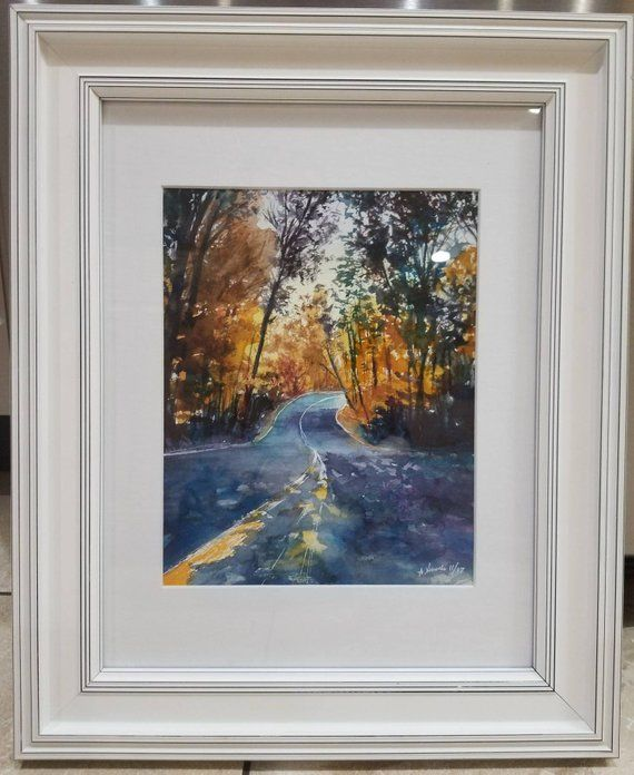 Original Watercolor Painting Autumn Road Season Street Trees Gift