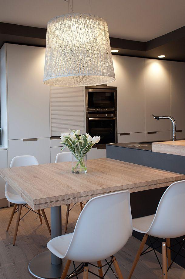 Cocina santos isla que continúa en mesa | Iluminación en la cocina ...