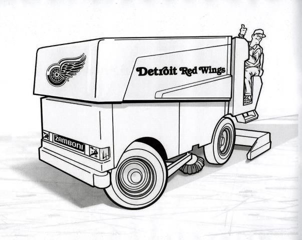 Zamboni Coloring Page Google Search Detroit Red Wings