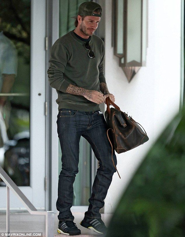 David Beckham steps out in another cap as he leaves Miami Beach ... 1a4ba60bfc38