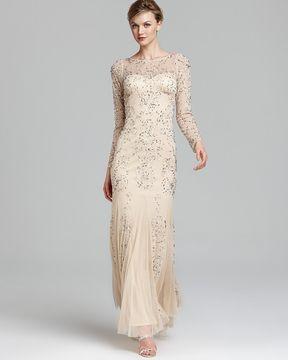 Adrianna Papell Bateau Neckline Low Cut Back Flutter Hem Fully Beaded Mesh  Dress. shopstyle.com  Adrianna Papell Beaded Gown - Long Sleeve a809ed44b
