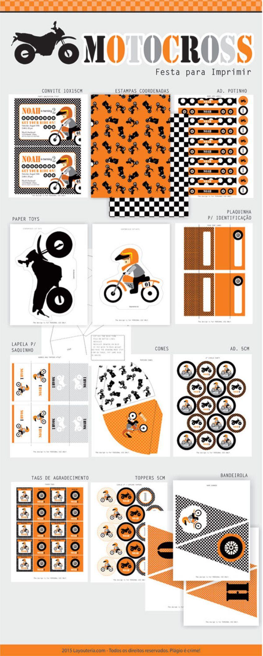 Motocross Festa - Festa para Imprimir | Boy Baby Shower | Pinterest ...