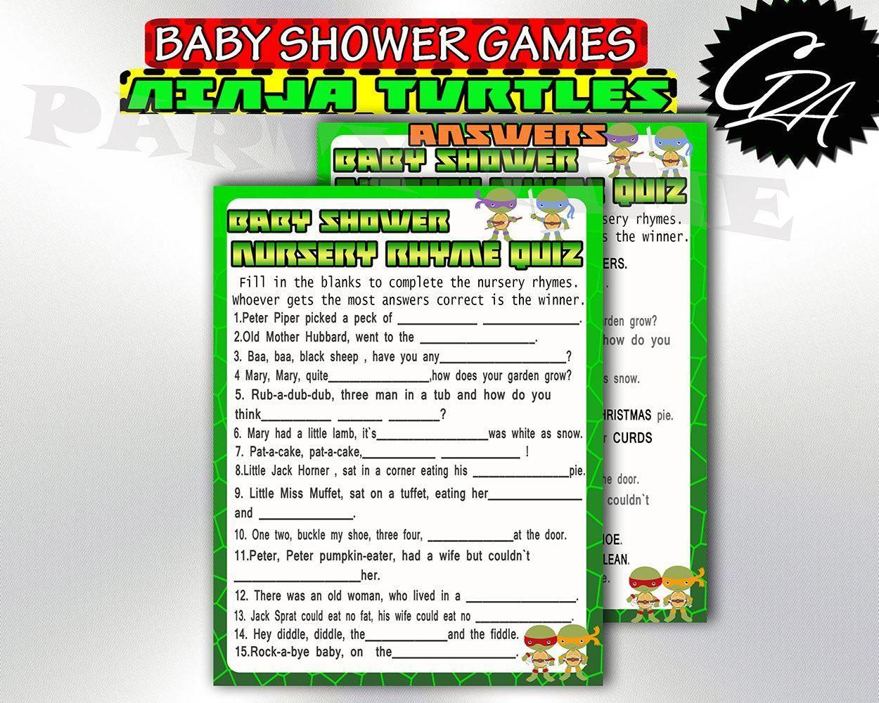 Turtles Nursery Rhyme Game Printable Baby Shower Game Ninja Turtles Baby Shower Nursery Rhyme