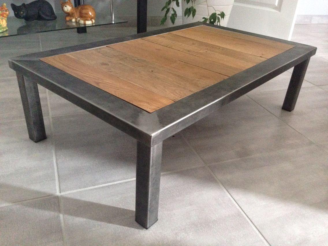 Table Basse Metal Et Bois Meubles Et Rangements Par Cedric36 Table Basse Bois Table Basse Metal Table Basse Relevable