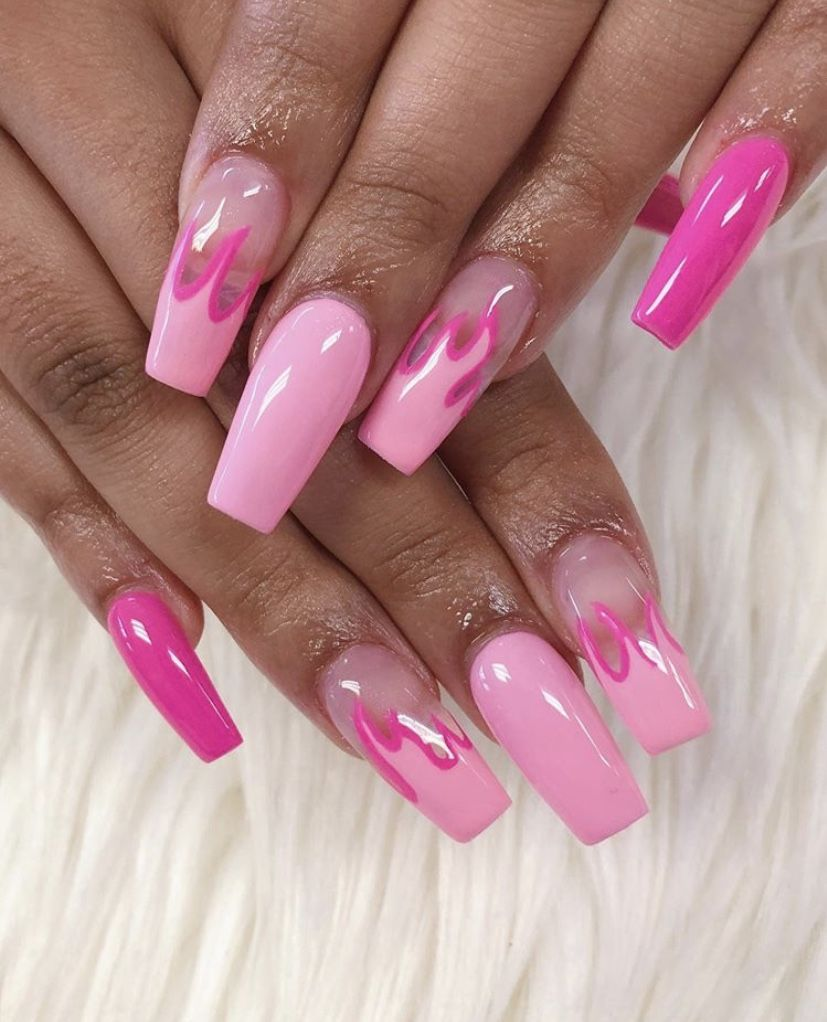 Pin-Iamsunny00 | Barbie pink nails, Pink acrylic nails