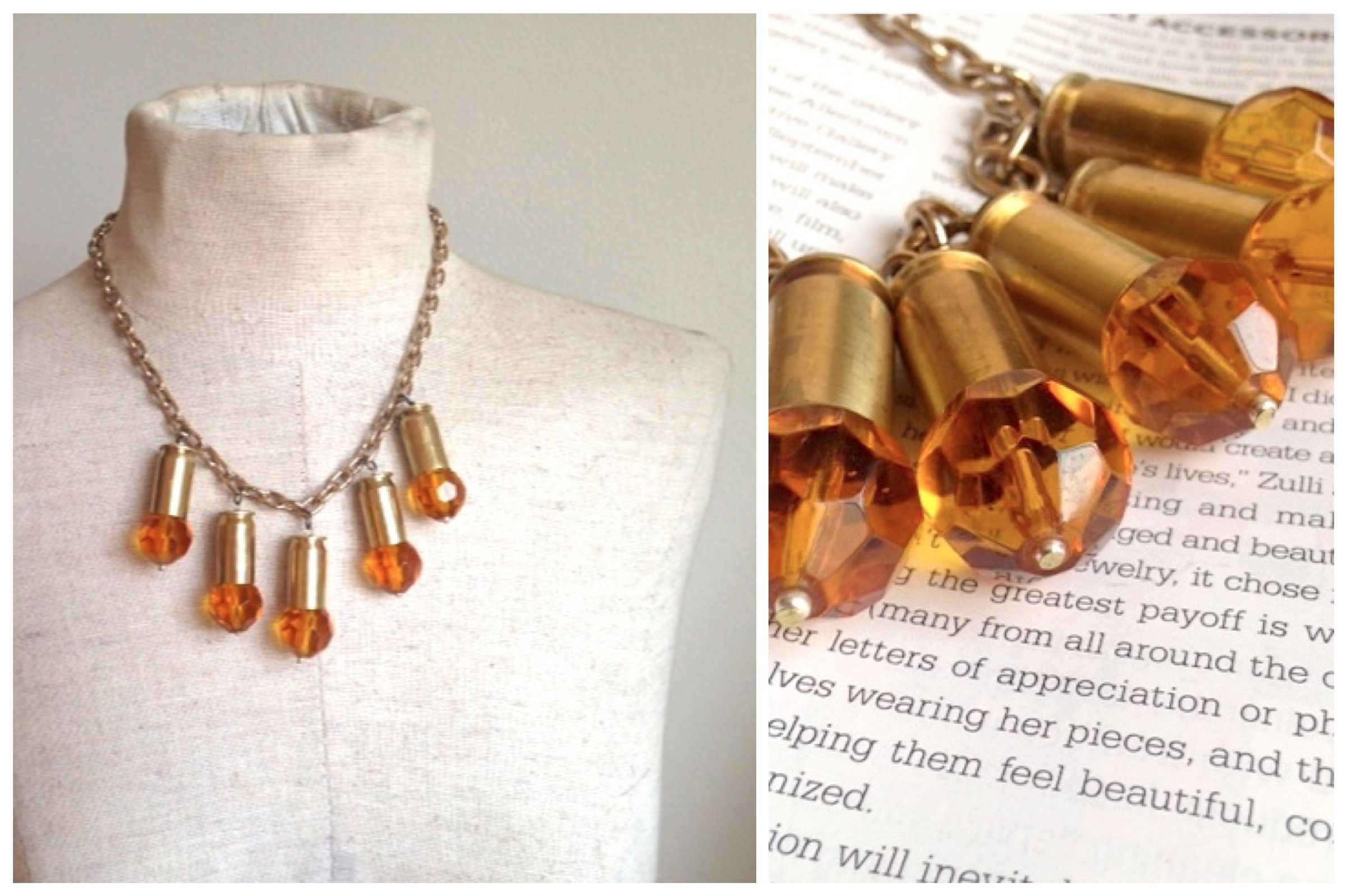 Amber Colored Faceted Beads // Bullet Shells // Rustic Chic