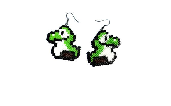 Baby Yoshi Perler Bead Earrings, Super Mario, Nintendo