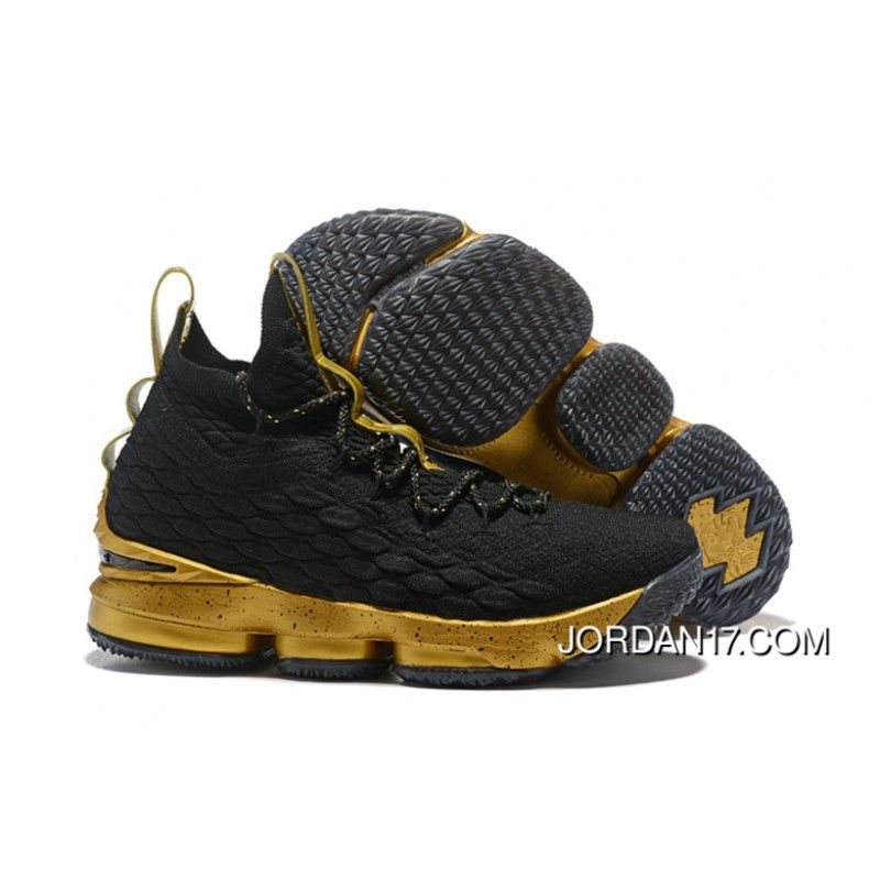 1e42ce945b2558 LeBron James Nike LeBron 15 Mens Basketball Shoes Black Gold NBA Finals  Game 4 Copuon