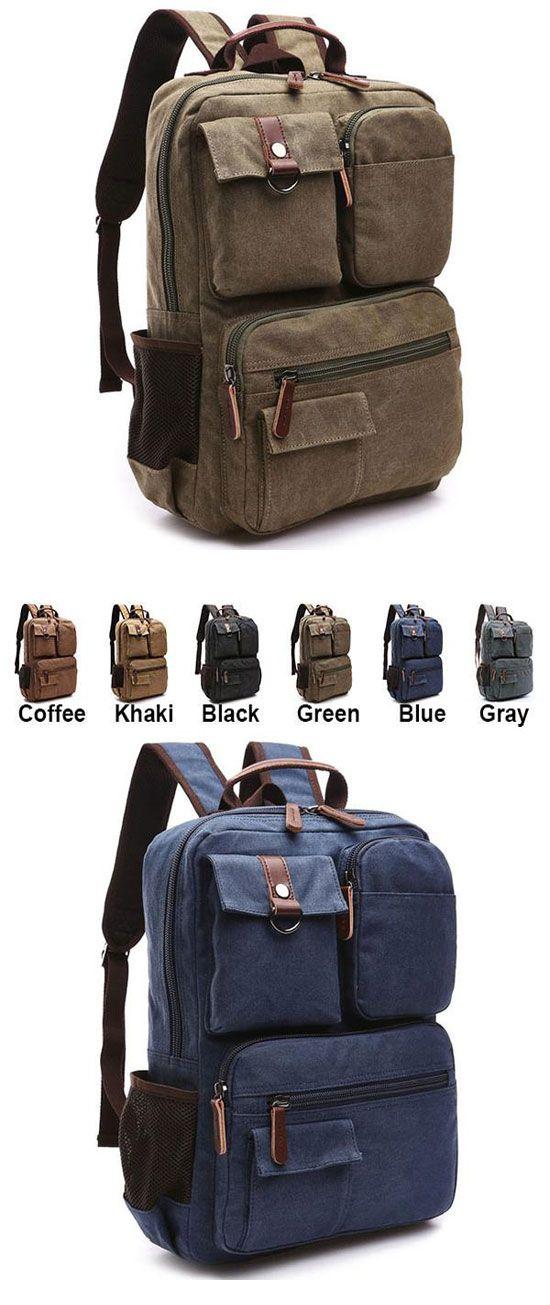 Vintage Brown Large Capacity School Canvas Laptop Backpack Multi ...