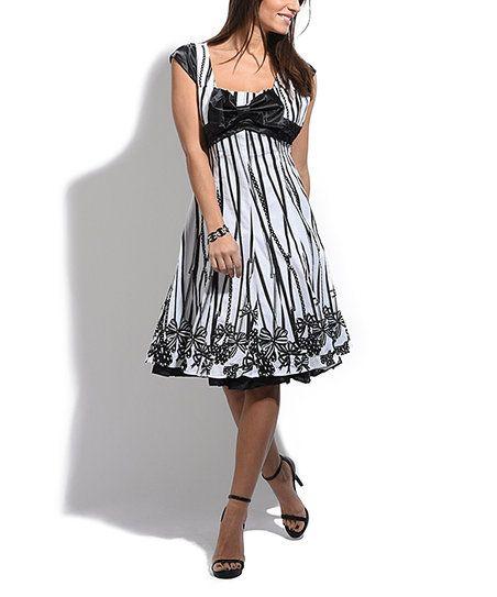 Grifflin Black & White Stripe Square-Nack Cap-Sleeve Dress | zulily