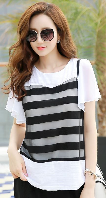 Stripe Front Chiffon Short Sleeve Tee #chiffonshorts