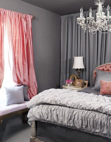 charcoal gray salmon pink romatic bedroom design with gray walls salmon pink silk drapes gray pintuck bedding salmon pink tufted silk headboard and