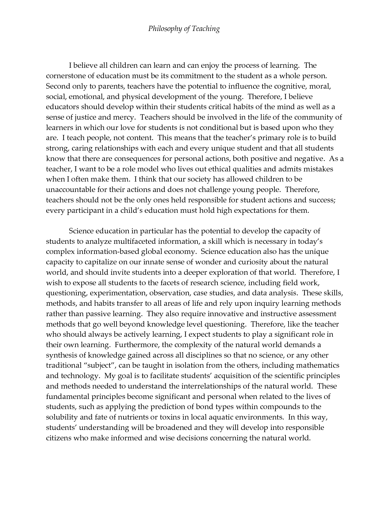Personal teaching philosophy paper problem statement thesis