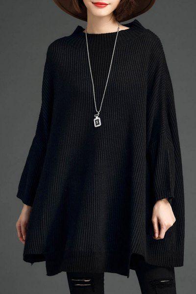 Lushijiao Black Oversized Batwing Sweater | Sweaters at DEZZAL