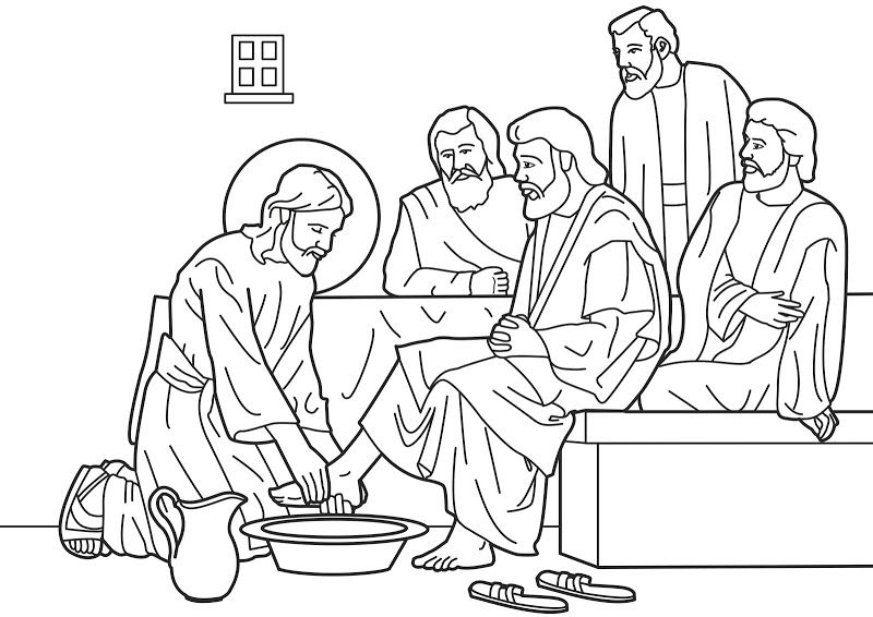 Jesus washes his disciples feet coloring pages for Holy Thursday