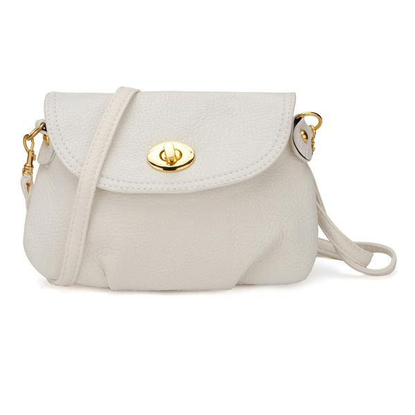 Women's Casual Solid Color Twist Lock Design Crossbody Bag