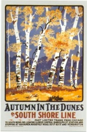 POSTER INDIANA DUNES STATE PARK WALKING TRAILS USA TRAVEL VINTAGE REPRO FREE S//H