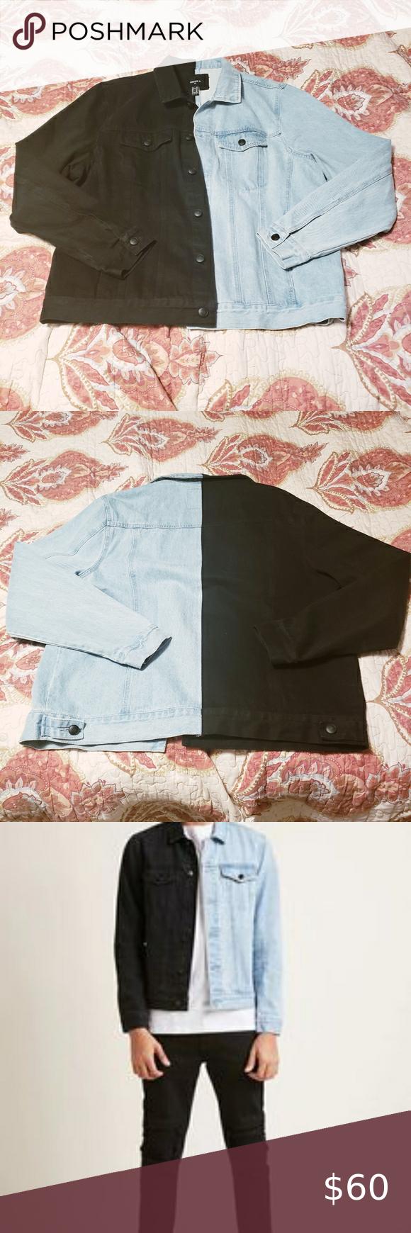 Final Sale Light Blue Half Black Denim Jacket Denim Jacket Dark Denim Jacket Black Denim Jacket [ 1740 x 580 Pixel ]