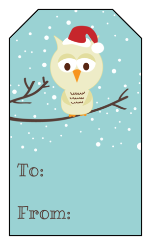 Owl With Santa Hat Gift Tag Sticker  Christmas