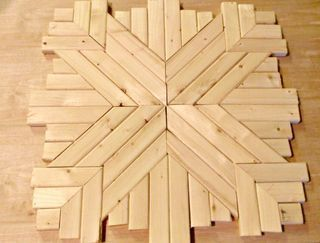 """Create this beautiful and rustic wood quilt square using only wood, wood glue, and stain.Materials Needed for Wood Quilt Square:1. 1"""" x 2"""" boards (4)2. ... #woodworkingplans"""
