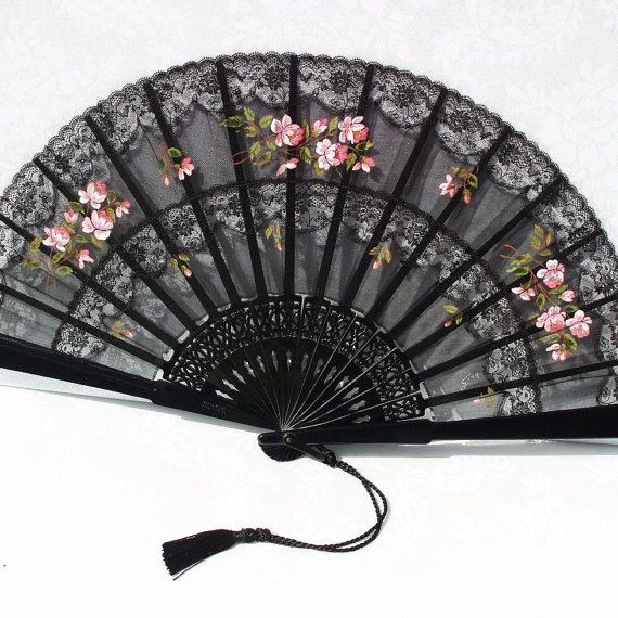 Black red blue silk Lace Fan Spanish Style Folding hand Japanese Handheld Fan