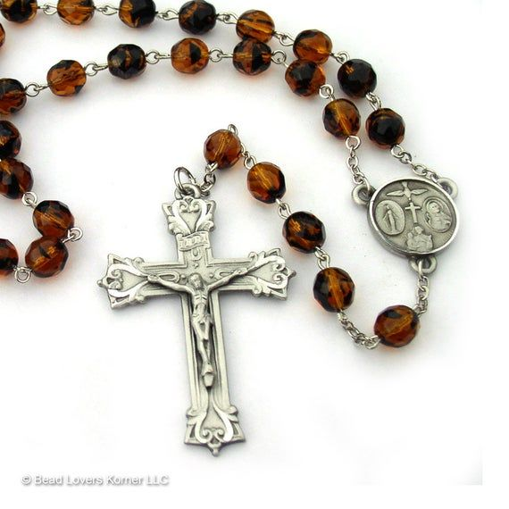 Mens Brown Catholic Rosary Beads Cross Necklace #catholicrosaries