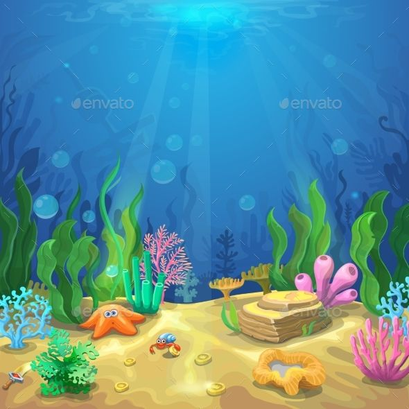 Underwater Landscape The Ocean And The Undersea World With Different Inhabitants Corals And Starfis Under The Sea Drawings Underwater Painting Undersea World