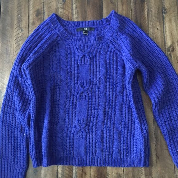Cable Knit Sweater Beautiful blue classic cable knit sweater Forever 21 Sweaters
