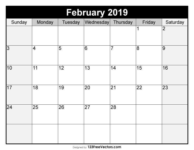 Blank February Calendar 2019 2019 Calendar Pinterest Calendar