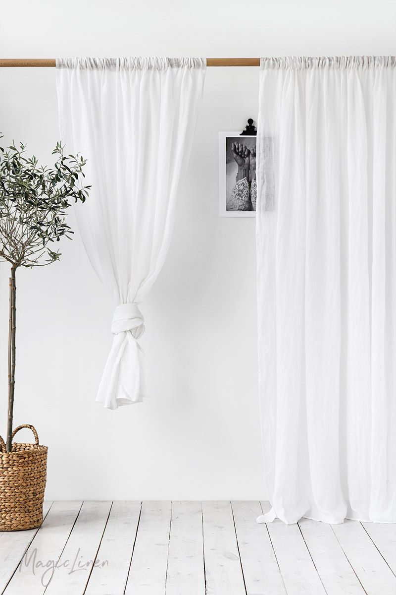 Draping Curtains Sheer Rod Pocket Linen Curtain Panel In 2019 Linen Curtains