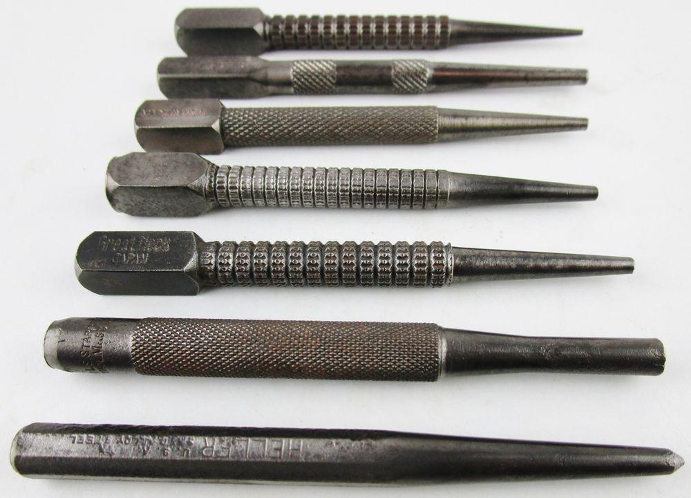 Vtg Mechanic Carpenter Nail Punch Lot Knurled Heller Starrett Miller Falls Etc Starrettgreatneckstanleymillerfalls Vintage Supplies Pen