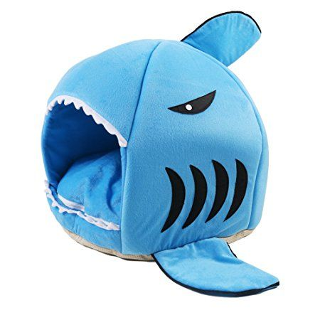 ANPI Haustier Haus, Maschinenwaschbares Blaues Hai Muster Anti Rutsch  Faltbare Weiche Warme Hund Katze