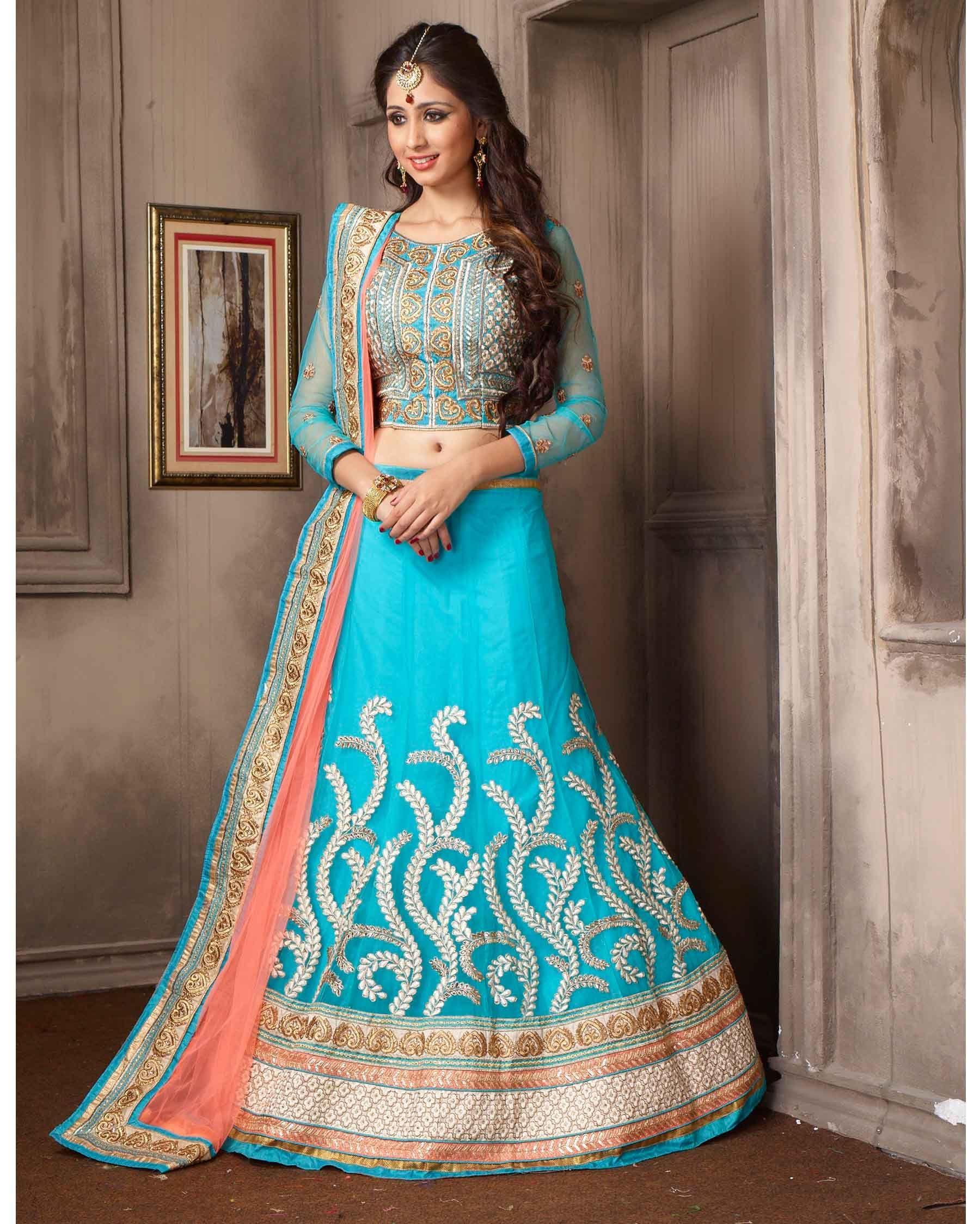 Sky Blue Designer Embroidered Net Buy Lehenga Choli Online Fabric ...