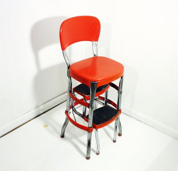 RED retro cosco 50s vintage step stool kitchen stool chair ...