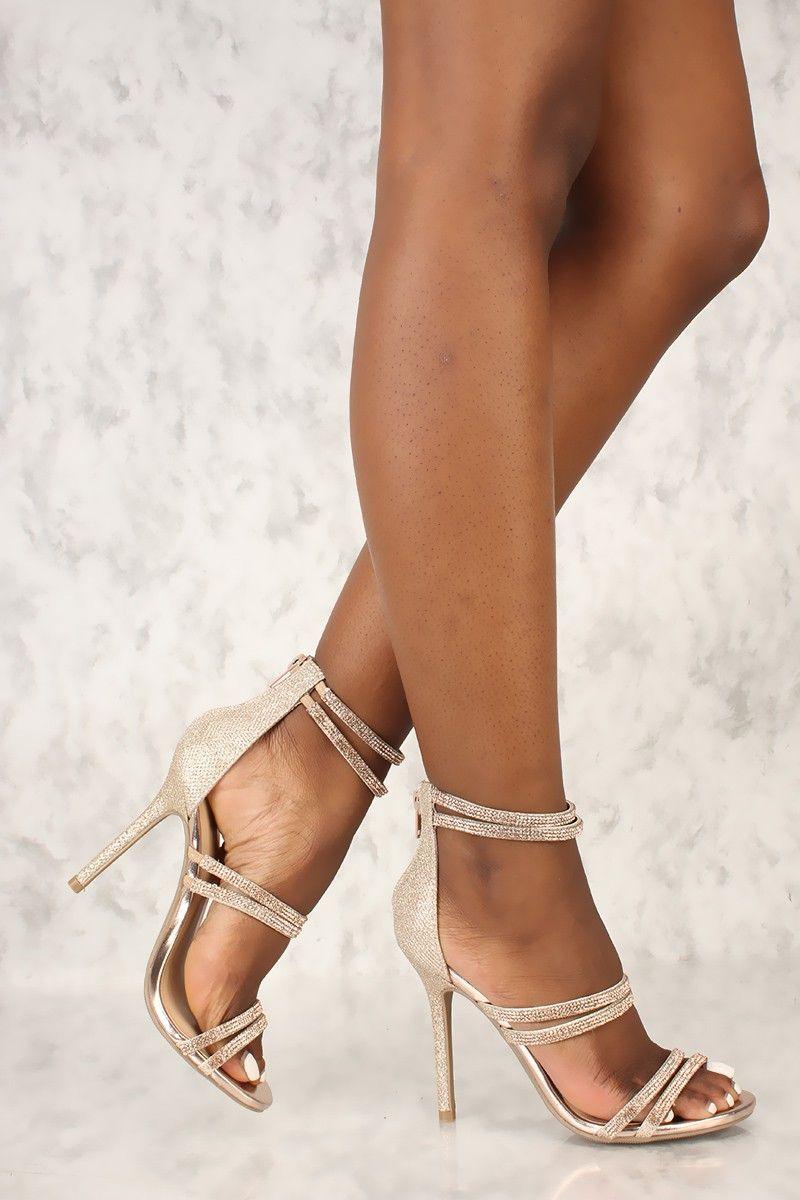 4b191d873 Sexy Rose Gold Rhinestone Open Toe Single Sole High Heels  Hothighheels