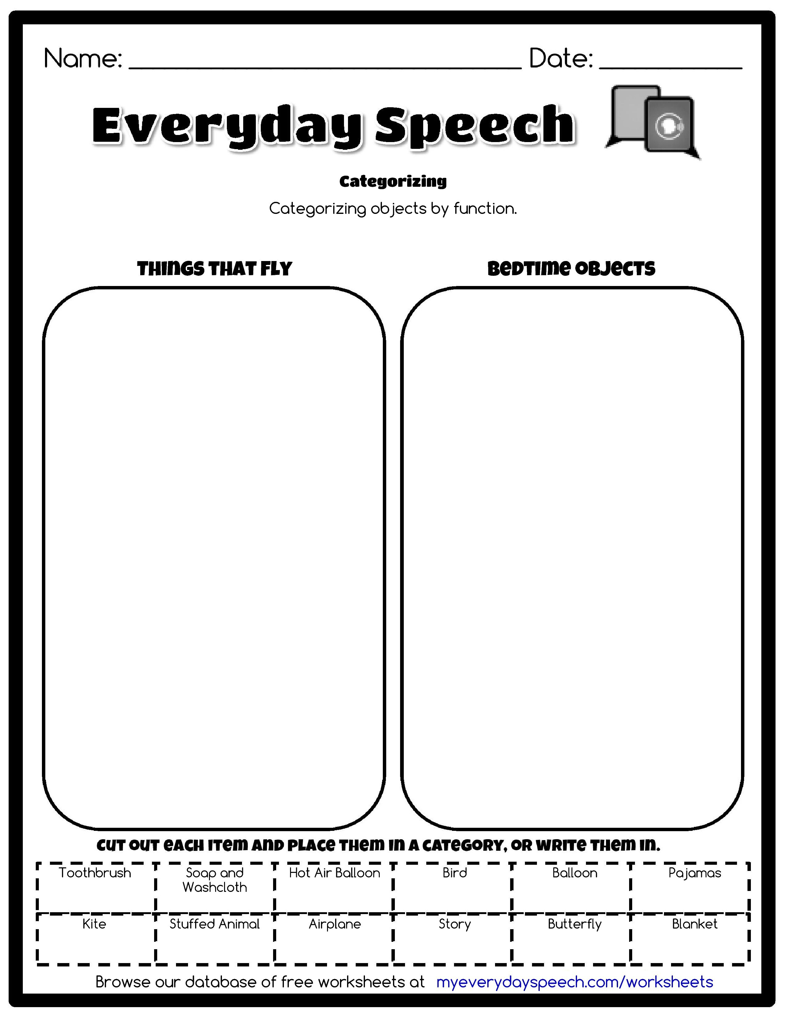 worksheet Function Or Not Worksheet check out the worksheet i just made using everyday speechs creator categorizing categorizing